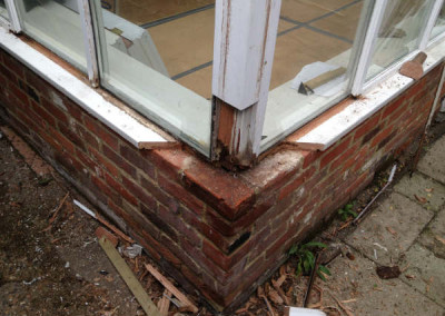 Removing the rotten timber