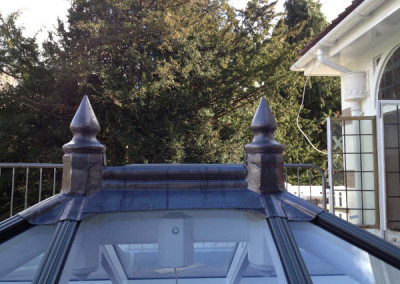 Hand crafted lead finials in situ