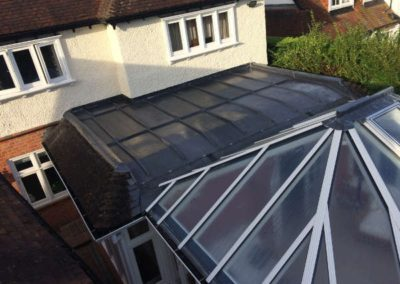 Lead flat roof with timber mop rolls